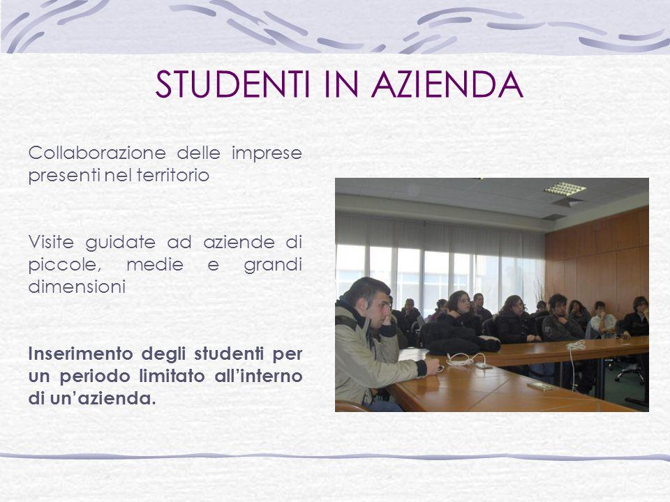 STUDENTI IN AZIENDA Collaborazione delle imprese presenti nel territorio Visite guidate ad aziende di piccole, medie e grandi dimensioni Inserimento degli studenti per un periodo limitato allinterno di unazienda.