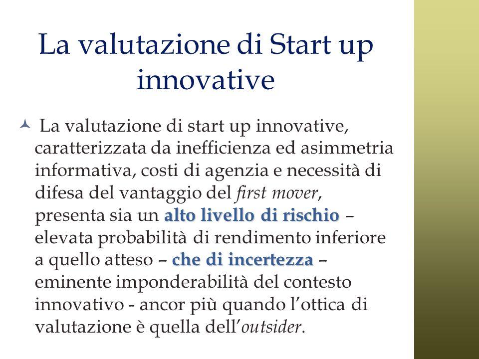 La valutazione di Start up innovative alto livello di rischio che di incertezza La valutazione di start up innovative, caratterizzata da inefficienza