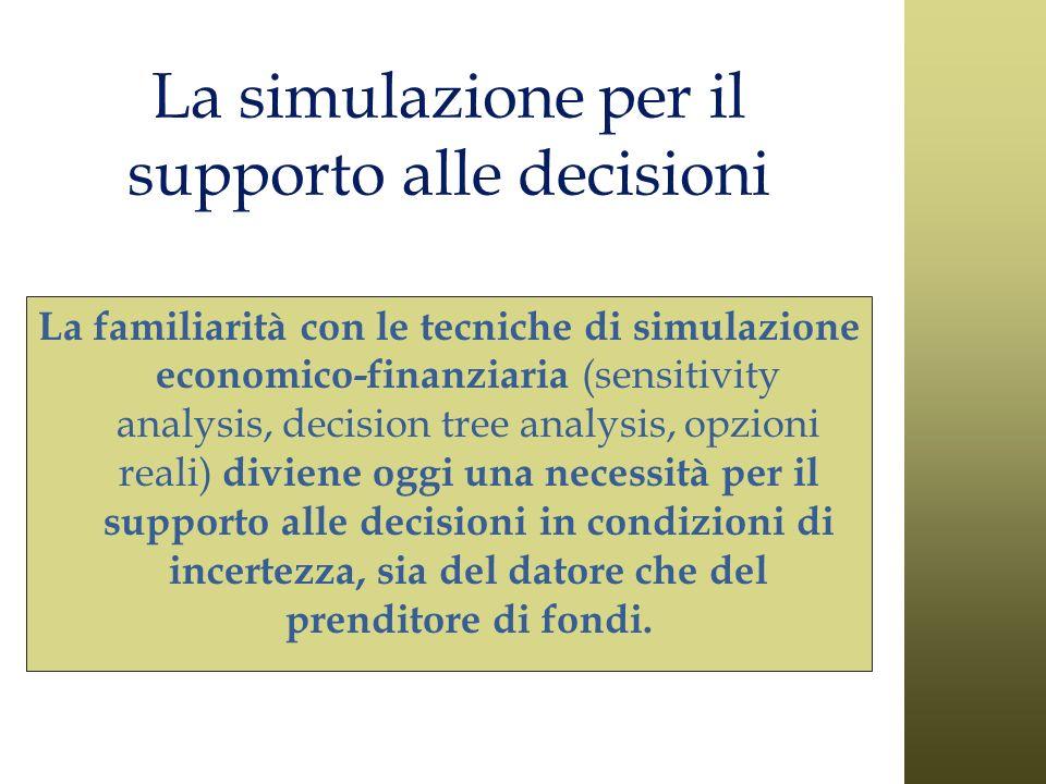 La simulazione per il supporto alle decisioni La familiarità con le tecniche di simulazione economico-finanziaria (sensitivity analysis, decision tree