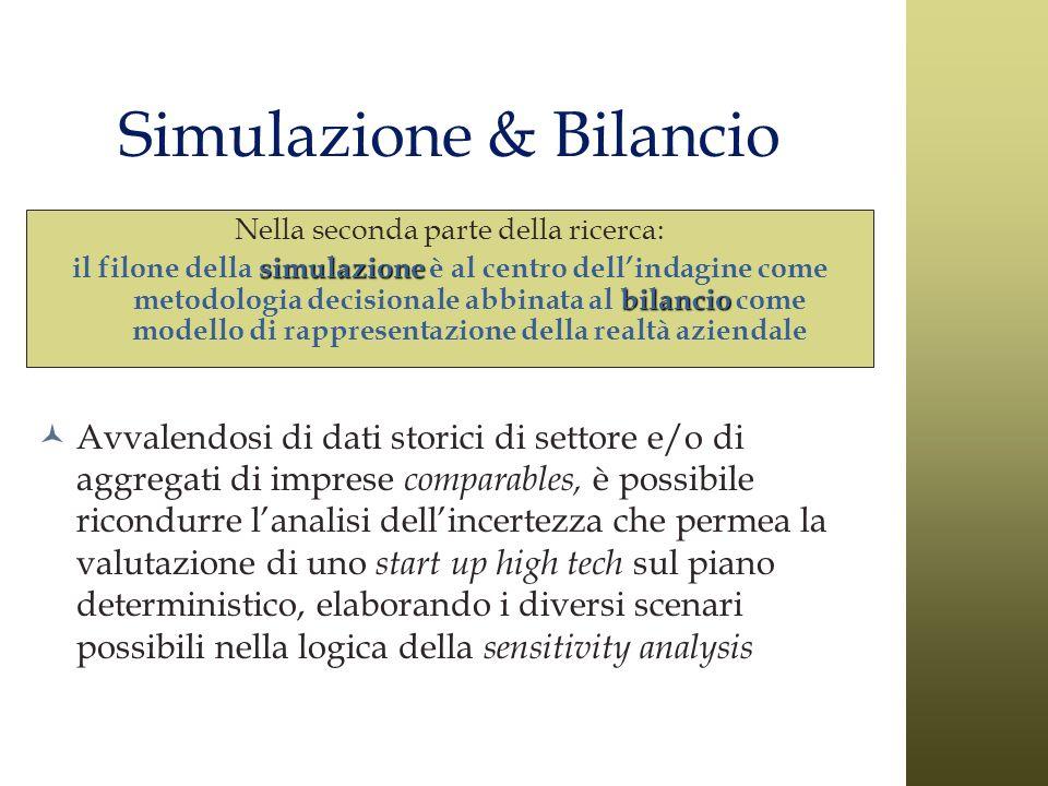 Simulazione & Bilancio Nella seconda parte della ricerca: simulazione bilancio il filone della simulazione è al centro dellindagine come metodologia d
