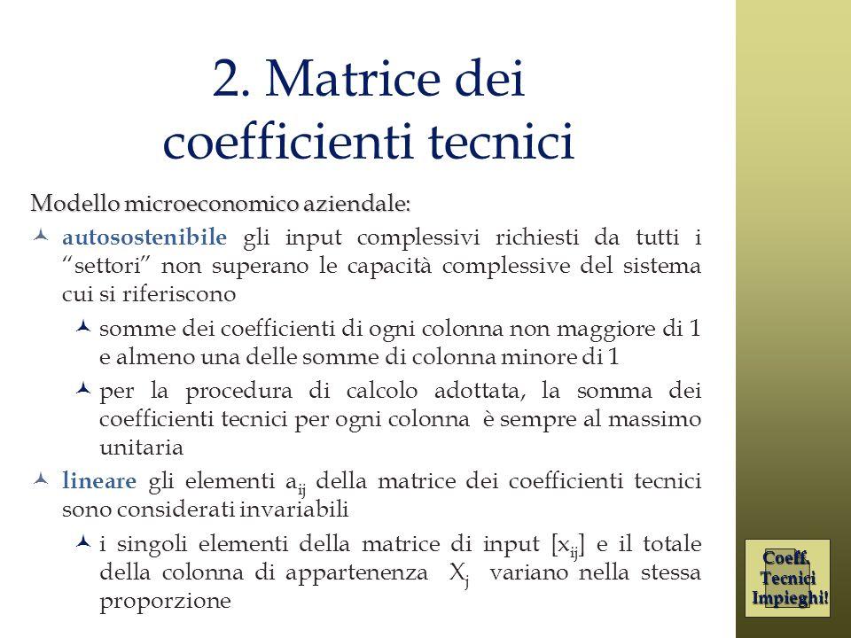 2. Matrice dei coefficienti tecnici Modello microeconomico aziendale: autosostenibile gli input complessivi richiesti da tutti i settori non superano
