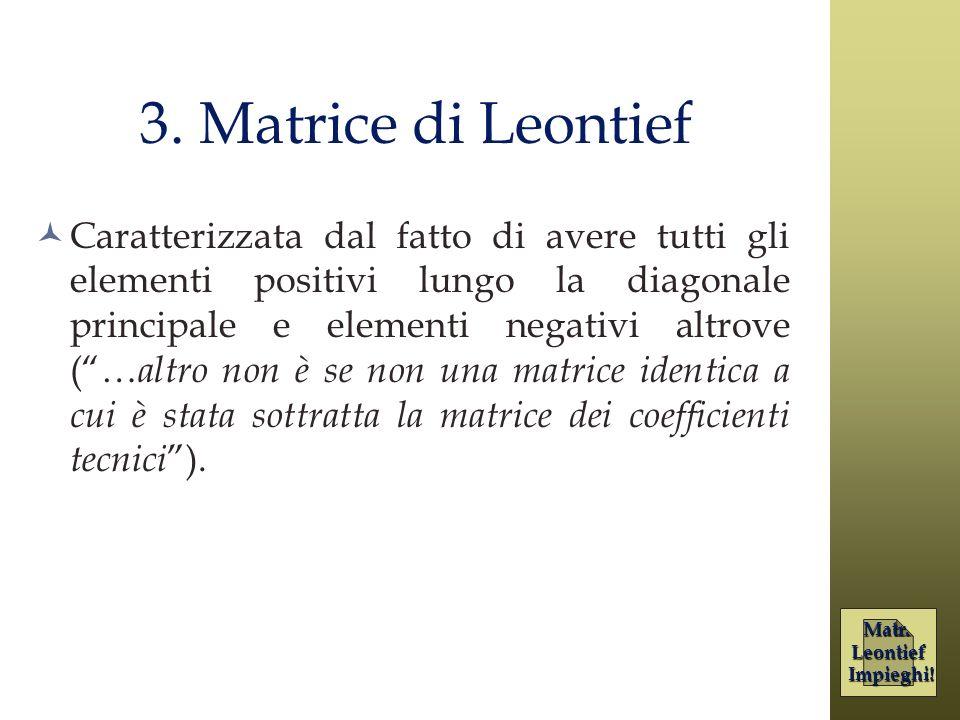 3. Matrice di Leontief Caratterizzata dal fatto di avere tutti gli elementi positivi lungo la diagonale principale e elementi negativi altrove (… altr