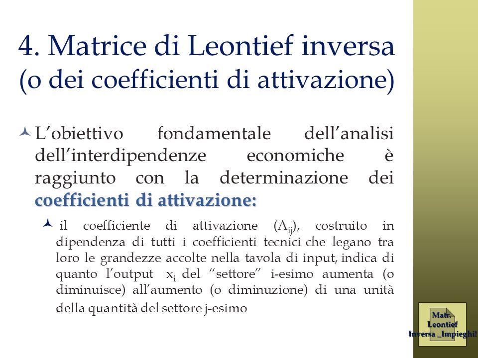 4. Matrice di Leontief inversa (o dei coefficienti di attivazione) coefficienti di attivazione: Lobiettivo fondamentale dellanalisi dellinterdipendenz