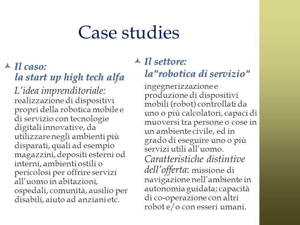 Case studies Il caso: la start up high tech alfa Il caso: la start up high tech alfa Lidea imprenditoriale: realizzazione di dispositivi propri della