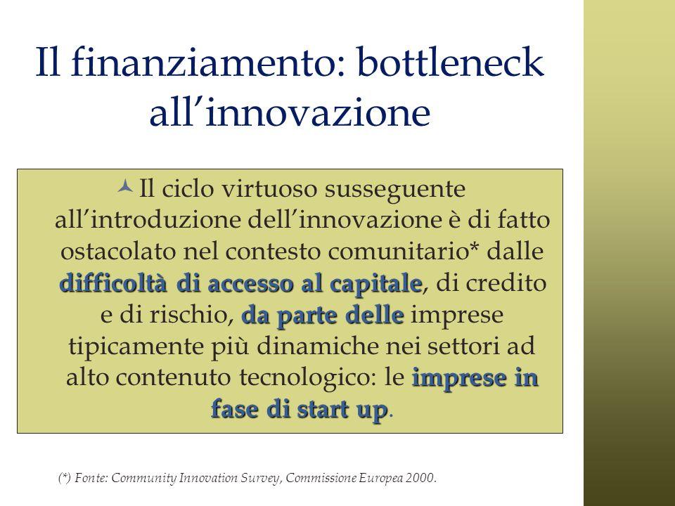 Il finanziamento: bottleneck allinnovazione difficoltà di accesso al capitale da parte delle imprese in fase di start up Il ciclo virtuoso susseguente
