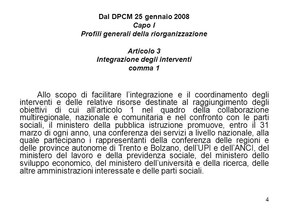 5 Dal DPCM 25 gennaio 2008 Capo I Profili generali della riorganizzazione Articolo 4 Caratteristiche dei percorsi comma 3 Con decreto adottato ai sensi dellarticolo 69, comma 1, della legge n.