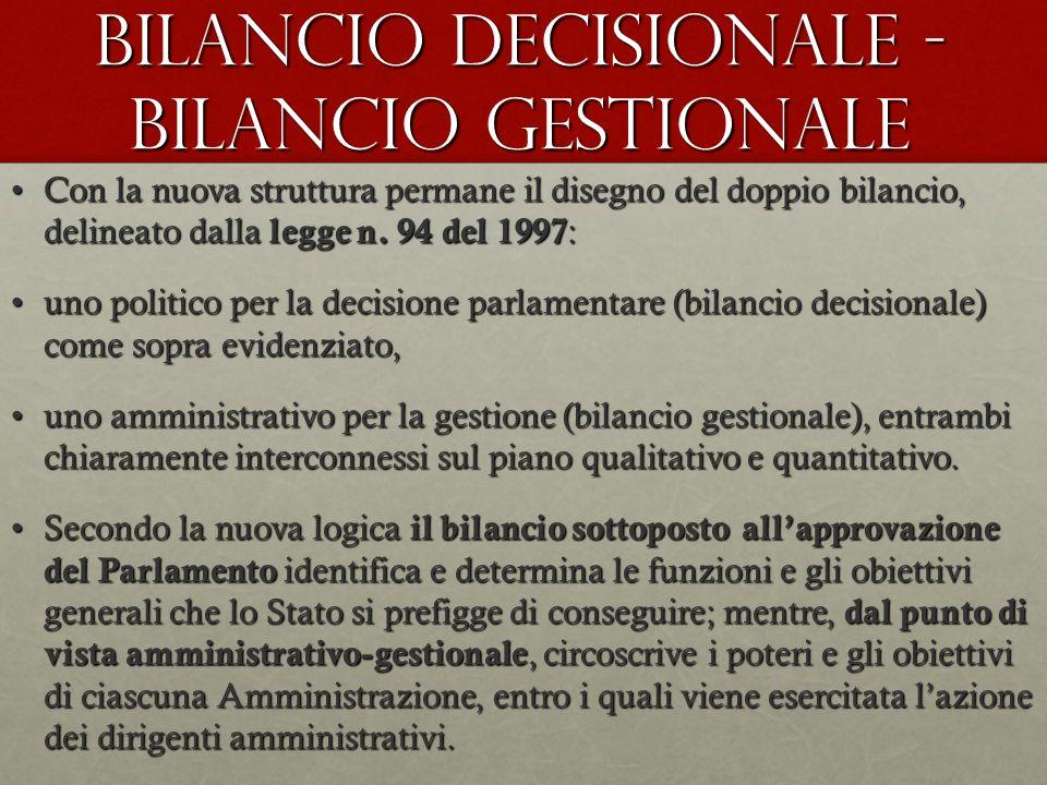 Bilancio Decisionale - Bilancio Gestionale Con la nuova struttura permane il disegno del doppio bilancio, delineato dalla legge n. 94 del 1997 :Con la