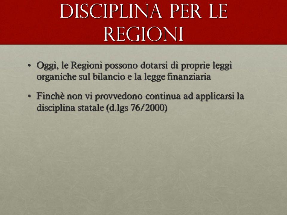 Disciplina per le Regioni Oggi, le Regioni possono dotarsi di proprie leggi organiche sul bilancio e la legge finanziariaOggi, le Regioni possono dota