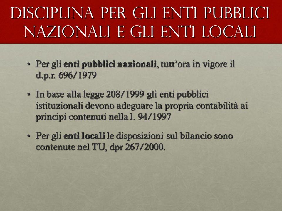 Disciplina per gli enti pubblici nazionali e gli enti locali Per gli enti pubblici nazionali, tuttora in vigore il d.p.r. 696/1979Per gli enti pubblic