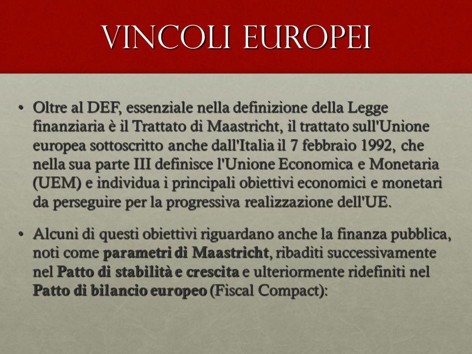 Vincoli europei Oltre al DEF, essenziale nella definizione della Legge finanziaria è il Trattato di Maastricht, il trattato sull'Unione europea sottos