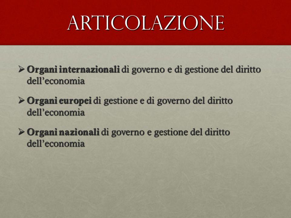 Articolazione Organi internazionali di governo e di gestione del diritto delleconomia Organi internazionali di governo e di gestione del diritto delle