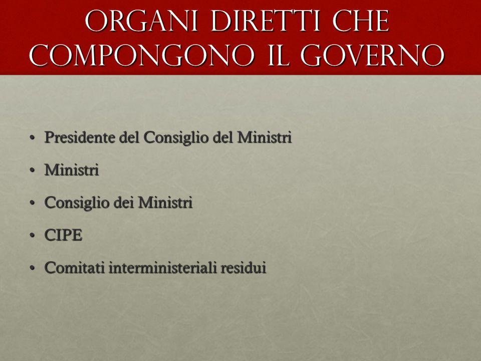 Organi diretti che compongono il Governo Presidente del Consiglio del MinistriPresidente del Consiglio del Ministri MinistriMinistri Consiglio dei Min