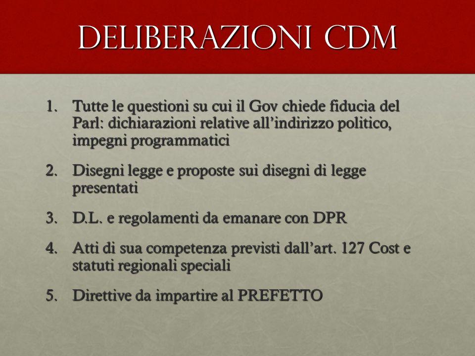 Deliberazioni CdM 1.Tutte le questioni su cui il Gov chiede fiducia del Parl: dichiarazioni relative allindirizzo politico, impegni programmatici 2.Di