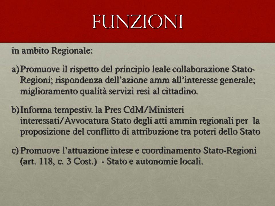 Funzioni in ambito Regionale: a)Promuove il rispetto del principio leale collaborazione Stato- Regioni; rispondenza dellazione amm allinteresse genera