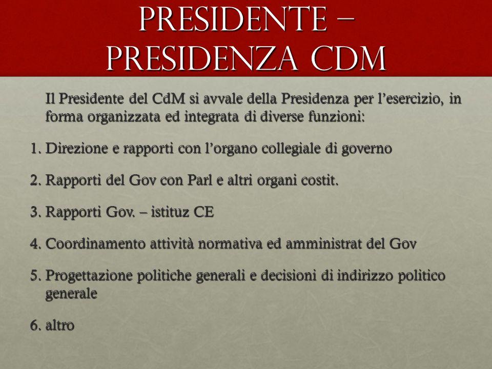 Presidente – Presidenza CdM Il Presidente del CdM si avvale della Presidenza per lesercizio, in forma organizzata ed integrata di diverse funzioni: 1.