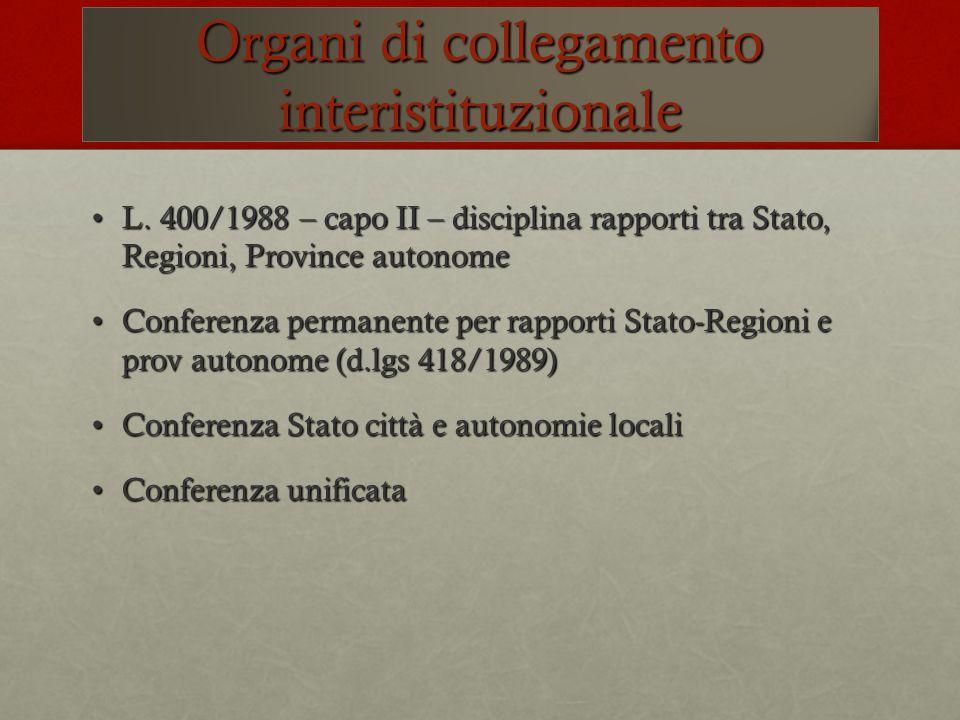 Organi di collegamento interistituzionale L. 400/1988 – capo II – disciplina rapporti tra Stato, Regioni, Province autonomeL. 400/1988 – capo II – dis