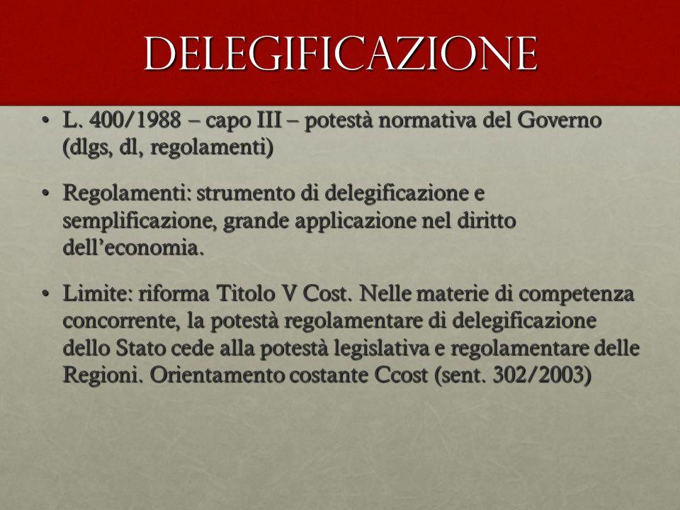 Delegificazione L. 400/1988 – capo III – potestà normativa del Governo (dlgs, dl, regolamenti)L. 400/1988 – capo III – potestà normativa del Governo (