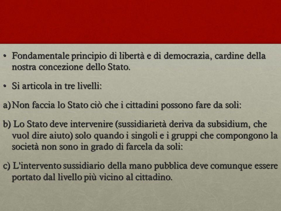 Fondamentale principio di libertà e di democrazia, cardine della nostra concezione dello Stato.Fondamentale principio di libertà e di democrazia, card