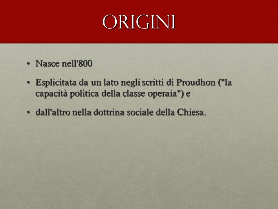 Origini Nasce nell'800Nasce nell'800 Esplicitata da un lato negli scritti di Proudhon (