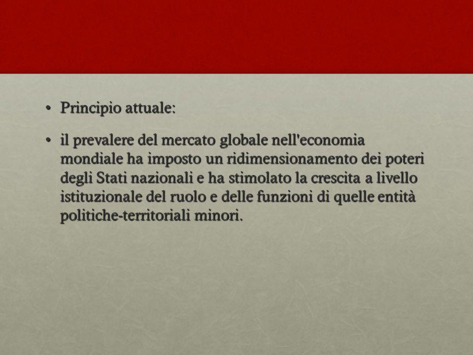 Principio attuale:Principio attuale: il prevalere del mercato globale nell'economia mondiale ha imposto un ridimensionamento dei poteri degli Stati na