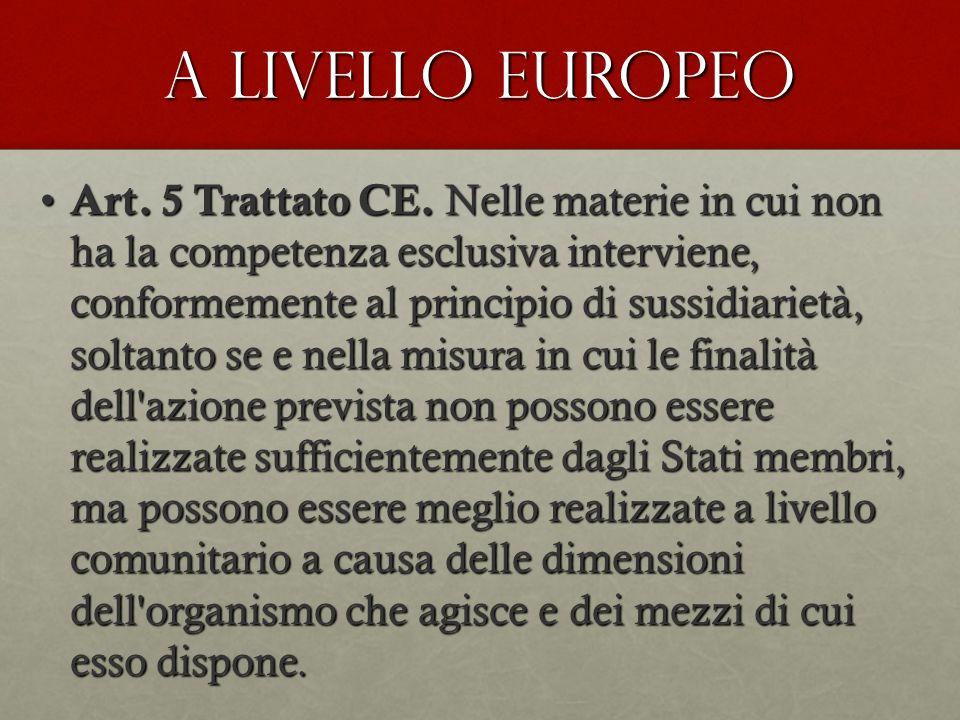 A livello europeo Art. 5 Trattato CE. Nelle materie in cui non ha la competenza esclusiva interviene, conformemente al principio di sussidiarietà, sol