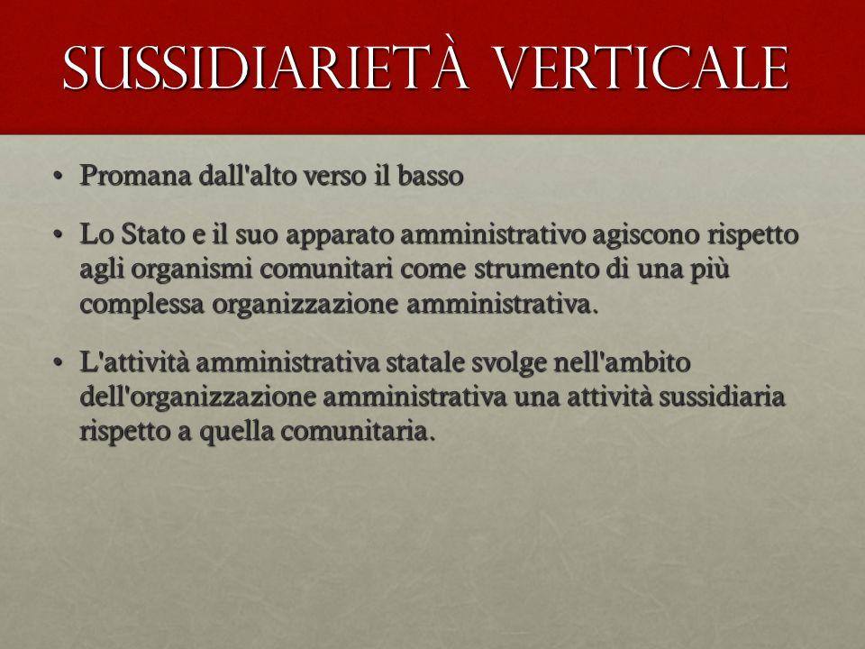 Sussidiarietà verticale Promana dall'alto verso il bassoPromana dall'alto verso il basso Lo Stato e il suo apparato amministrativo agiscono rispetto a