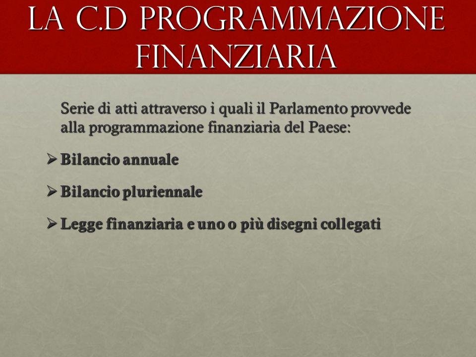 La c.d Programmazione finanziaria Serie di atti attraverso i quali il Parlamento provvede alla programmazione finanziaria del Paese: Bilancio annuale
