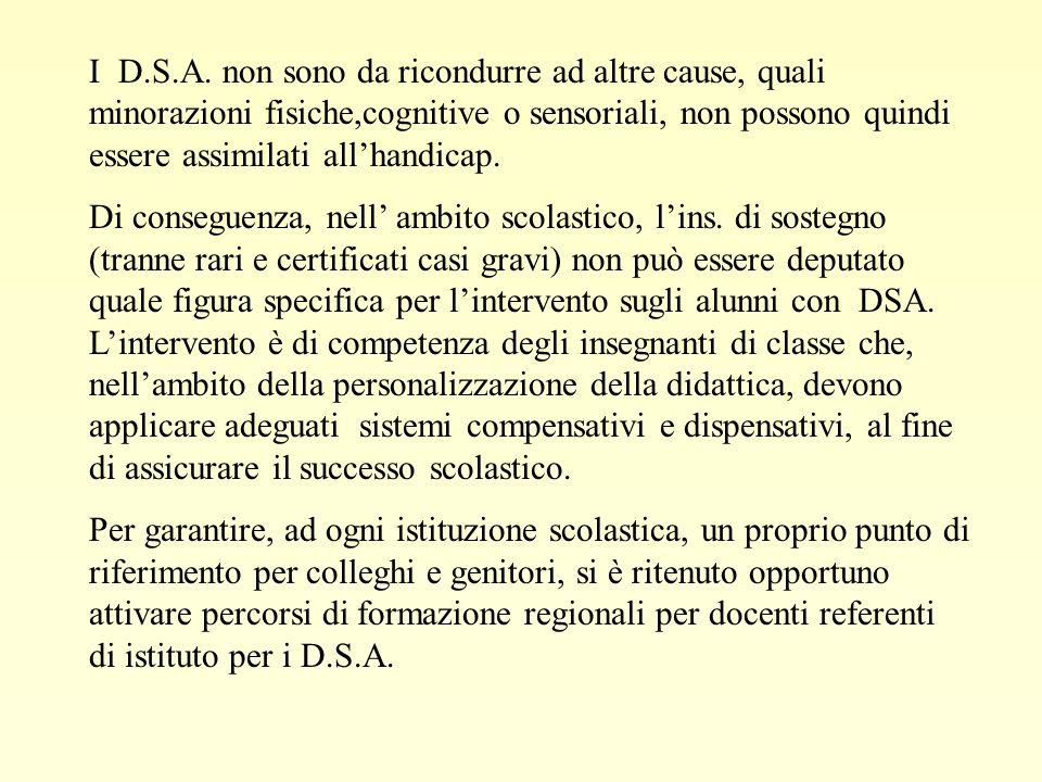 I D.S.A. non sono da ricondurre ad altre cause, quali minorazioni fisiche,cognitive o sensoriali, non possono quindi essere assimilati allhandicap. Di