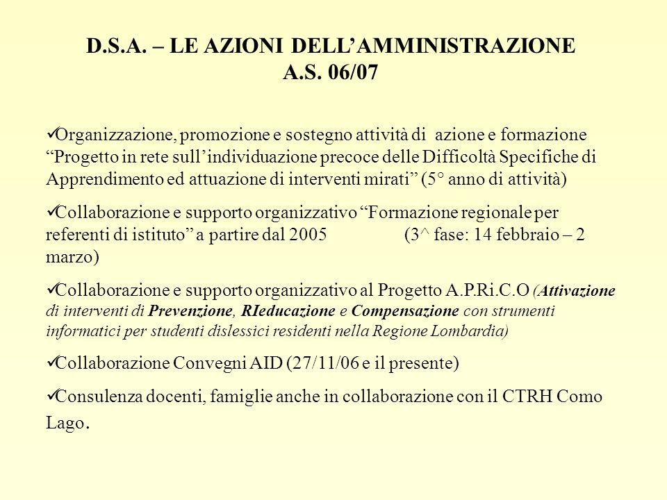 D.S.A. – LE AZIONI DELLAMMINISTRAZIONE A.S. 06/07 Organizzazione, promozione e sostegno attività di azione e formazione Progetto in rete sullindividua