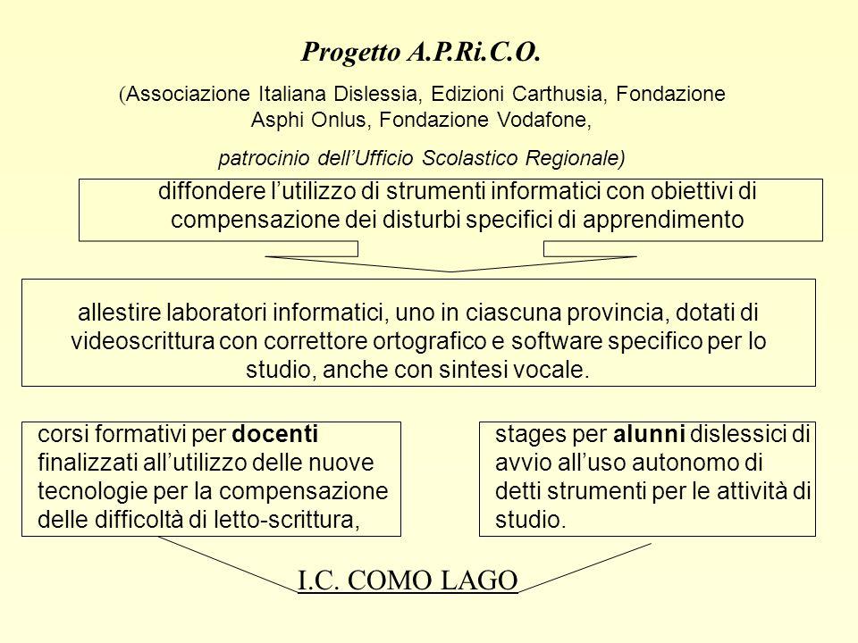 Progetto A.P.Ri.C.O. ( Associazione Italiana Dislessia, Edizioni Carthusia, Fondazione Asphi Onlus, Fondazione Vodafone, patrocinio dellUfficio Scolas