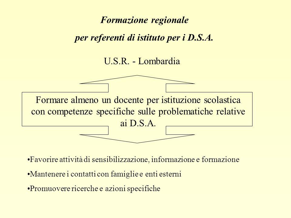 Formazione regionale per referenti di istituto per i D.S.A. U.S.R. - Lombardia Formare almeno un docente per istituzione scolastica con competenze spe