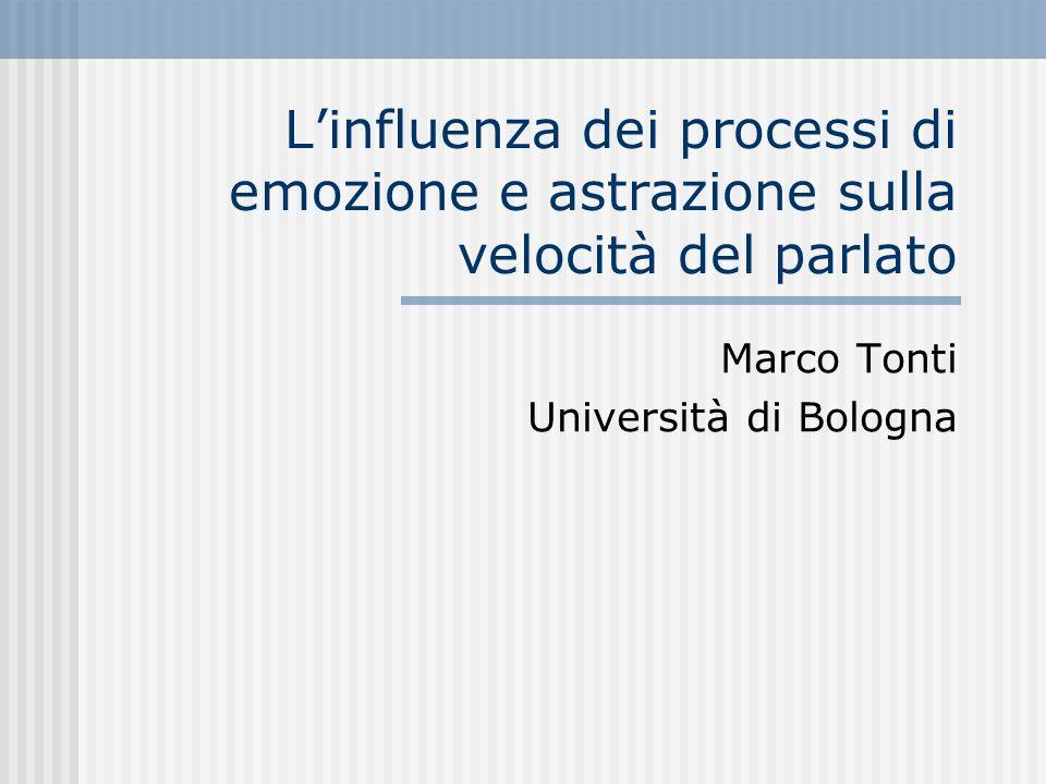 Linfluenza dei processi di emozione e astrazione sulla velocità del parlato Marco Tonti Università di Bologna