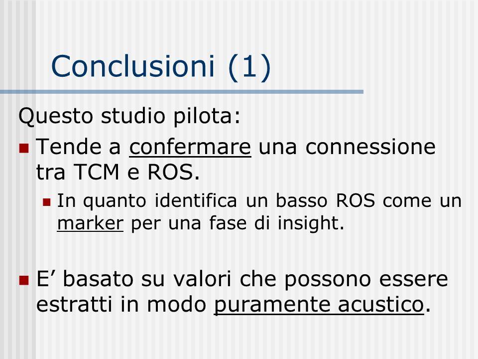 Conclusioni (1) Questo studio pilota: Tende a confermare una connessione tra TCM e ROS. In quanto identifica un basso ROS come un marker per una fase