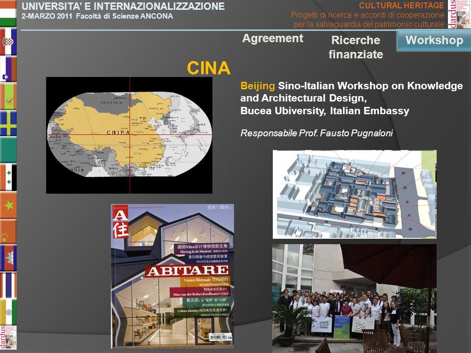 Beijing Sino-Italian Workshop on Knowledge and Architectural Design, Bucea Ubiversity, Italian Embassy CINA Agreement Ricerche finanziate Workshop UNI