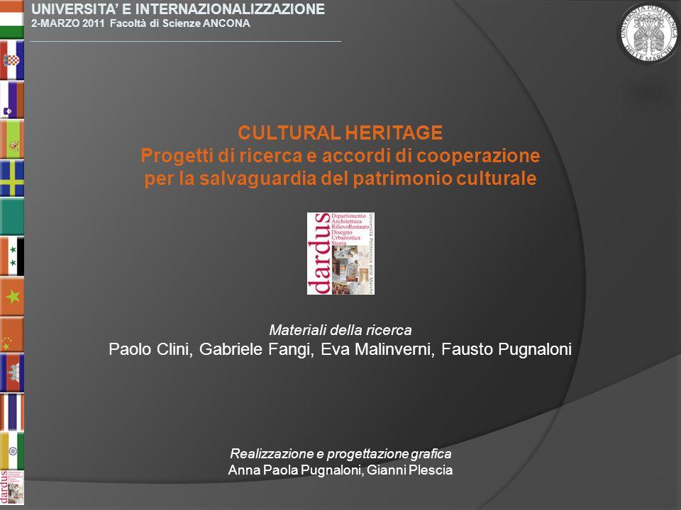 Materiali della ricerca Paolo Clini, Gabriele Fangi, Eva Malinverni, Fausto Pugnaloni UNIVERSITA E INTERNAZIONALIZZAZIONE 2-MARZO 2011 Facoltà di Scie