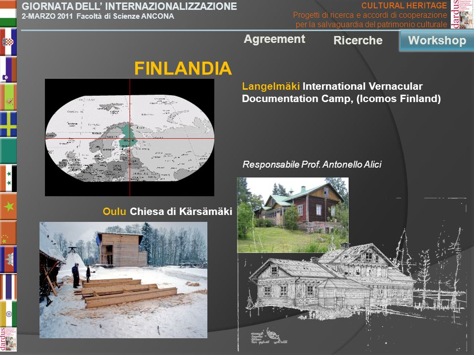 Langelmäki International Vernacular Documentation Camp, (Icomos Finland) FINLANDIA Agreement Ricerche Workshop Oulu Chiesa di Kärsämäki GIORNATA DELL