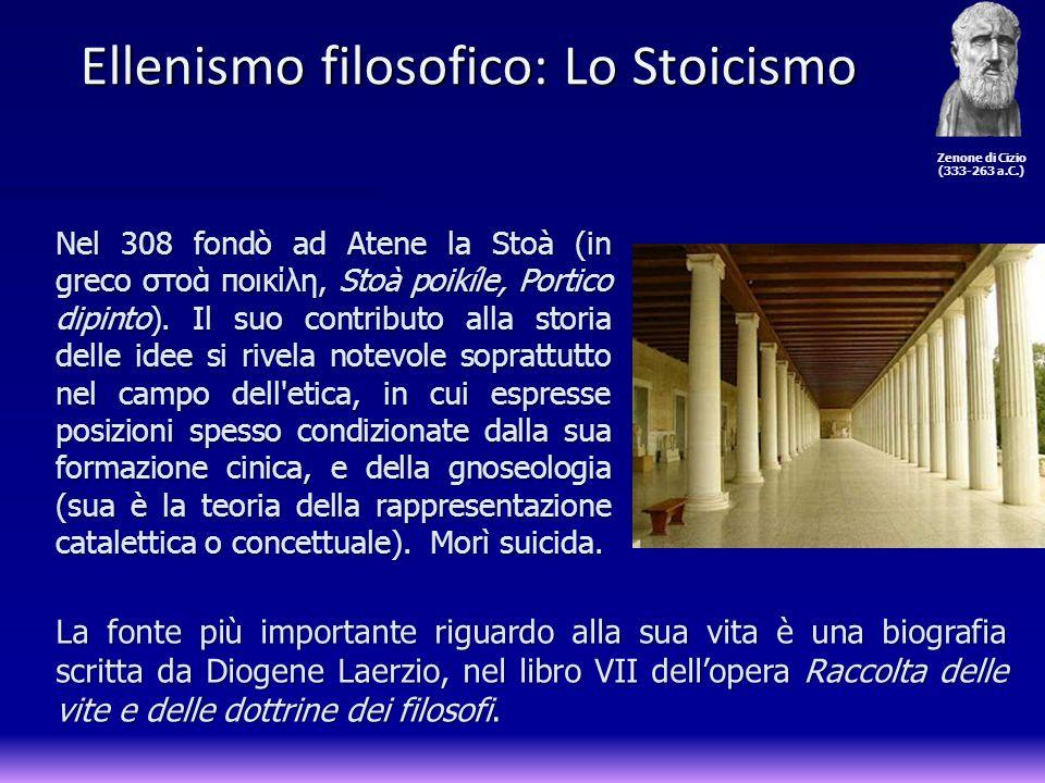 Nel 308 fondò ad Atene la Stoà (in greco στο ποικίλη, Stoà poikíle, Portico dipinto). Il suo contributo alla storia delle idee si rivela notevole sopr