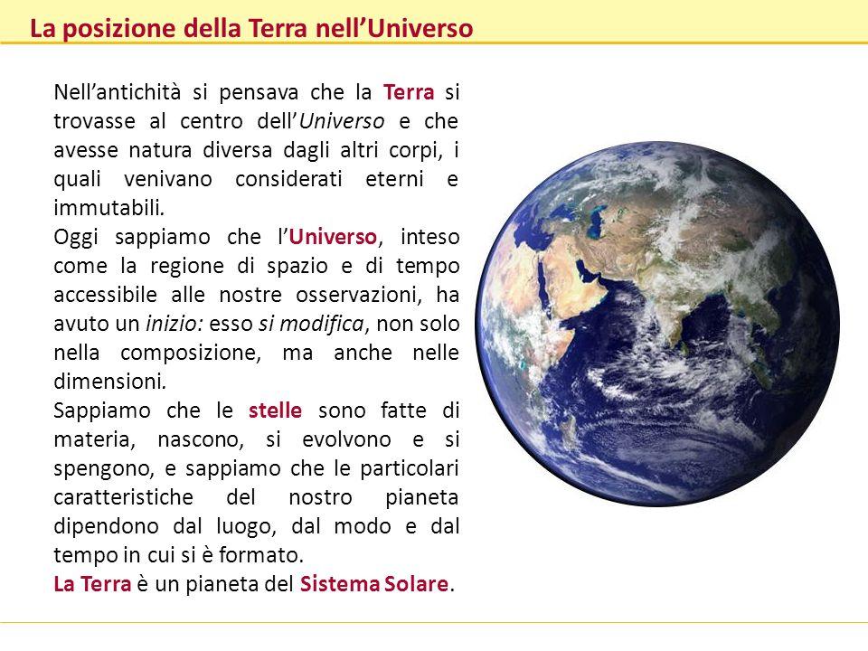 La posizione della Terra nellUniverso Nellantichità si pensava che la Terra si trovasse al centro dellUniverso e che avesse natura diversa dagli altri