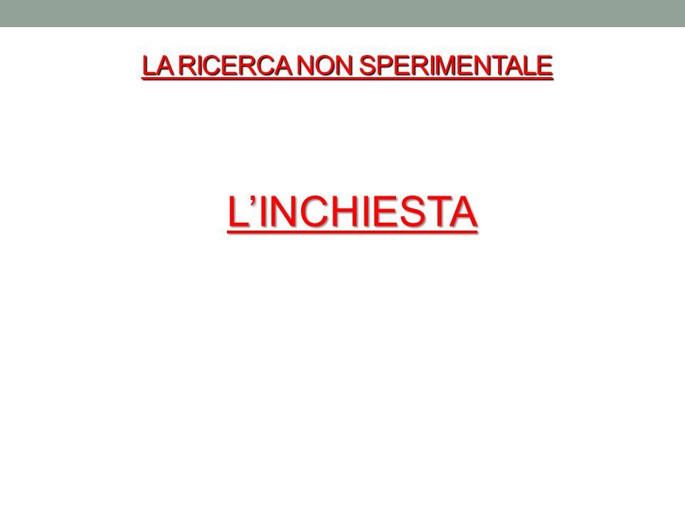 LA RICERCA NON SPERIMENTALE LINCHIESTA