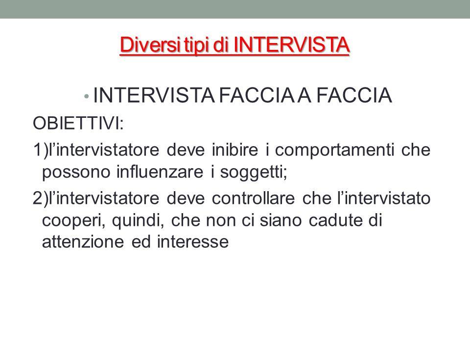 Diversi tipi di INTERVISTA INTERVISTA FACCIA A FACCIA OBIETTIVI: 1)lintervistatore deve inibire i comportamenti che possono influenzare i soggetti; 2)