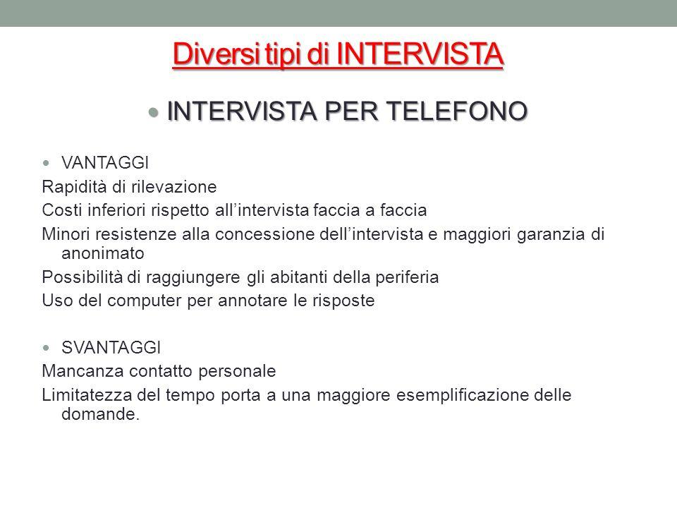 Diversi tipi di INTERVISTA INTERVISTA PER TELEFONO INTERVISTA PER TELEFONO VANTAGGI Rapidità di rilevazione Costi inferiori rispetto allintervista fac