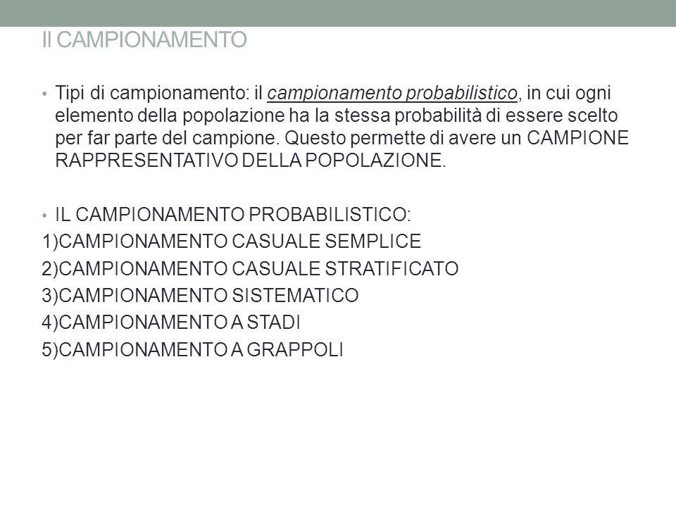 Il CAMPIONAMENTO Tipi di campionamento: il campionamento probabilistico, in cui ogni elemento della popolazione ha la stessa probabilità di essere sce