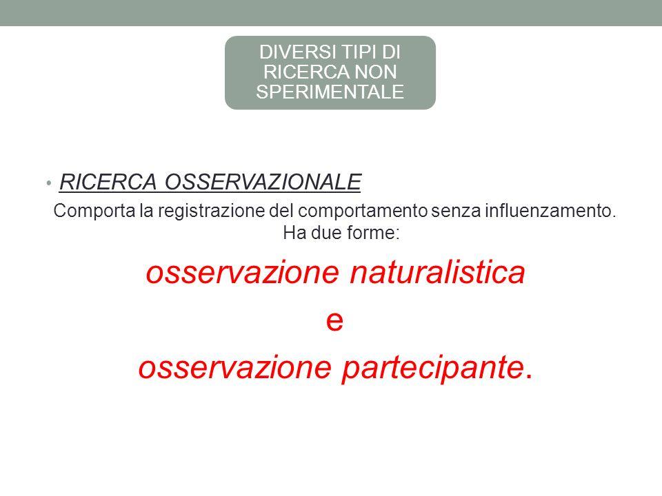 DIVERSI TIPI DI RICERCA NON SPERIMENTALE RICERCA OSSERVAZIONALE Comporta la registrazione del comportamento senza influenzamento.