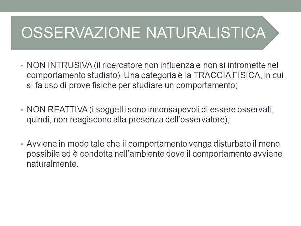 OSSERVAZIONE NATURALISTICA NON INTRUSIVA (il ricercatore non influenza e non si intromette nel comportamento studiato). Una categoria è la TRACCIA FIS