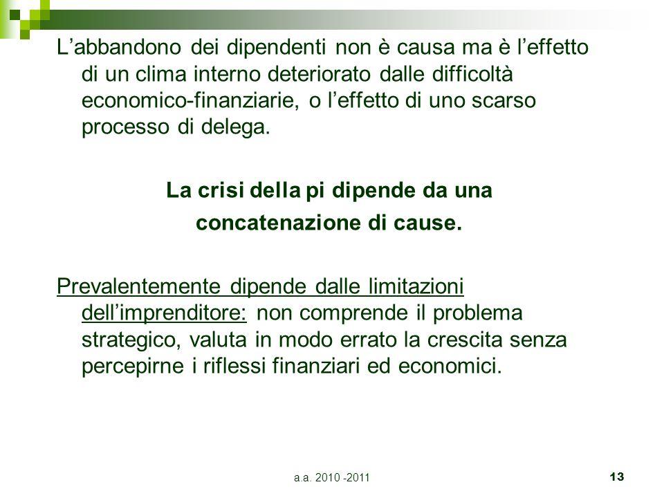 a.a. 2010 -201113 Labbandono dei dipendenti non è causa ma è leffetto di un clima interno deteriorato dalle difficoltà economico-finanziarie, o leffet