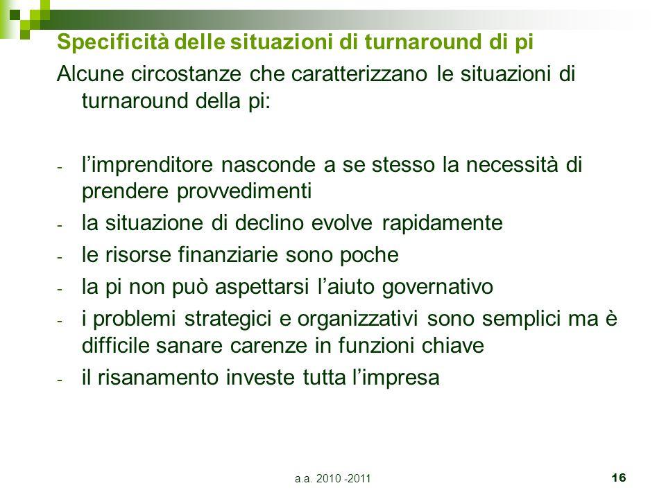 a.a. 2010 -201116 Specificità delle situazioni di turnaround di pi Alcune circostanze che caratterizzano le situazioni di turnaround della pi: - limpr