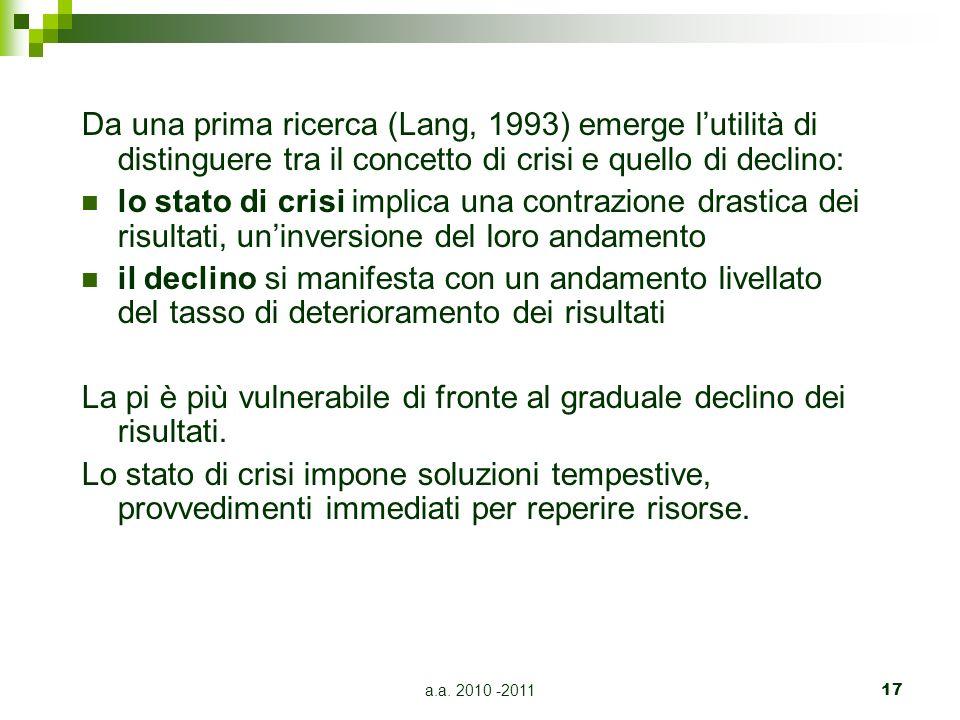 a.a. 2010 -201117 Da una prima ricerca (Lang, 1993) emerge lutilità di distinguere tra il concetto di crisi e quello di declino: lo stato di crisi imp