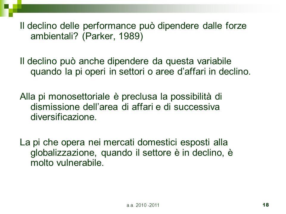 a.a. 2010 -201118 Il declino delle performance può dipendere dalle forze ambientali.