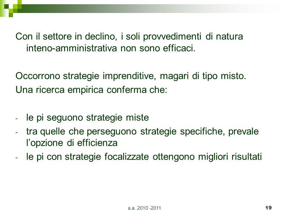 a.a. 2010 -201119 Con il settore in declino, i soli provvedimenti di natura inteno-amministrativa non sono efficaci. Occorrono strategie imprenditive,