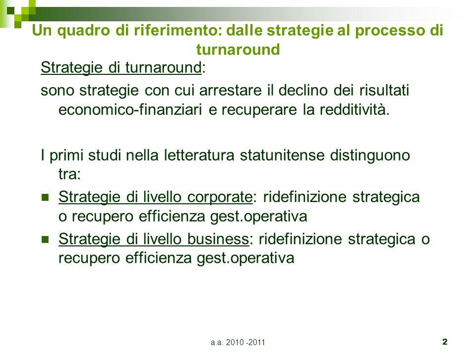 a.a. 2010 -20112 Un quadro di riferimento: dalle strategie al processo di turnaround Strategie di turnaround: sono strategie con cui arrestare il decl